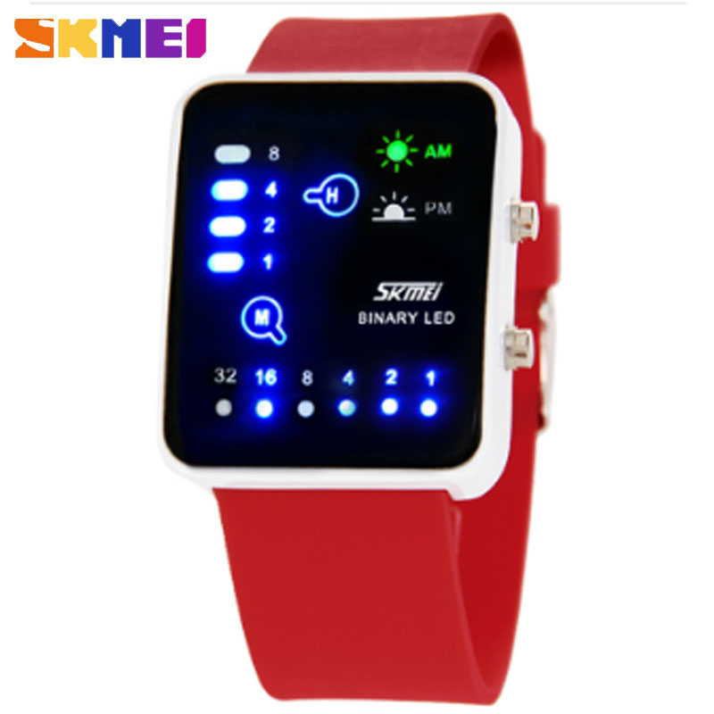 SKMEI Hot Sale Creative Fashion LED Electronic waterproof Jelly Multi-color Couple Watches