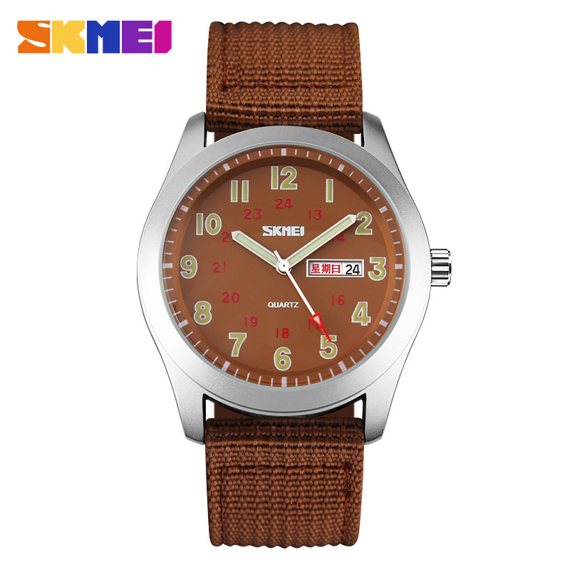 SKMEI Brand Nylon Strap Waterproof Analog Display Date Day Casual Quartz Men's Watches