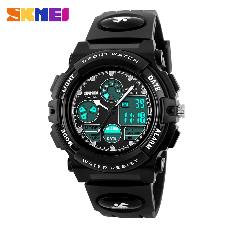 SKMEI Fashion Sport Waterproof Multifunction Dual Time LED Digital Watches For Children