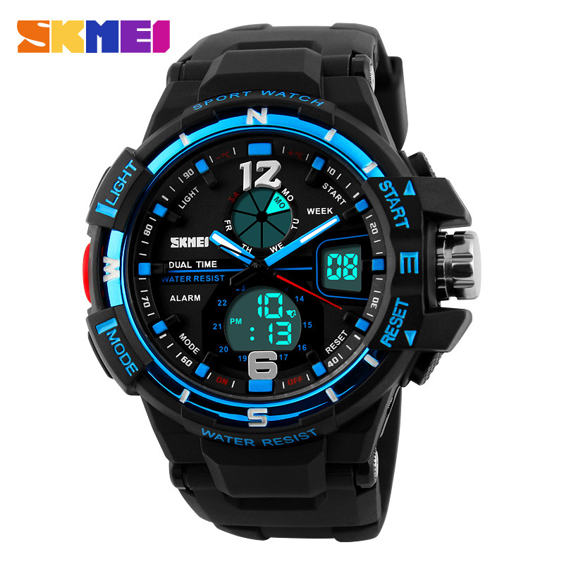 SKMEI Best Selling Big Dial Digital Dual Time Waterproof Chronograph Rubber Strap Men Watches