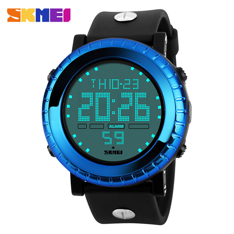 SKMEI Korean Style Big Dial Multifunction LED Digital 50M Waterproof Men Wristwatches