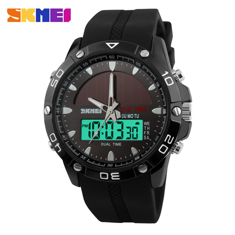 SKMEI New Fashion Solar Energy Analog-Digital LED Dual Time Men Watches