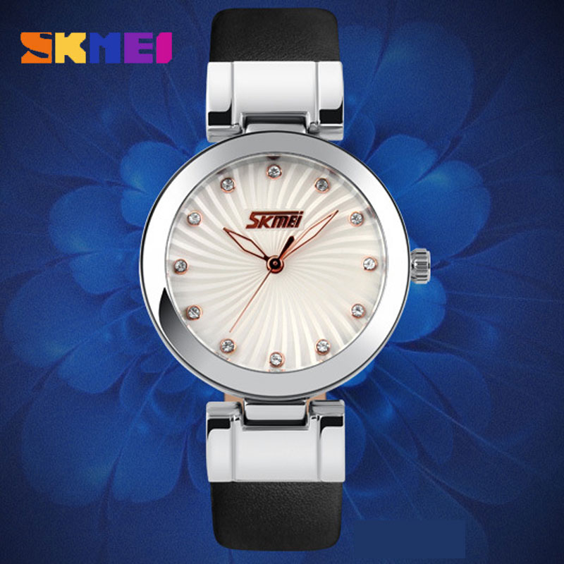 SKMEI High Quality Genuine Leather Strap Waterproof Quartz Women Wristwatches
