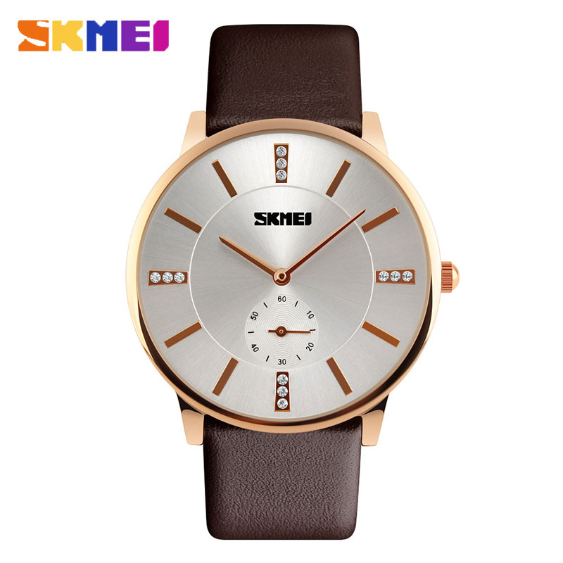 SKMEI Classical Korean Style Diamonds Quartz Leather Strap Men Watches