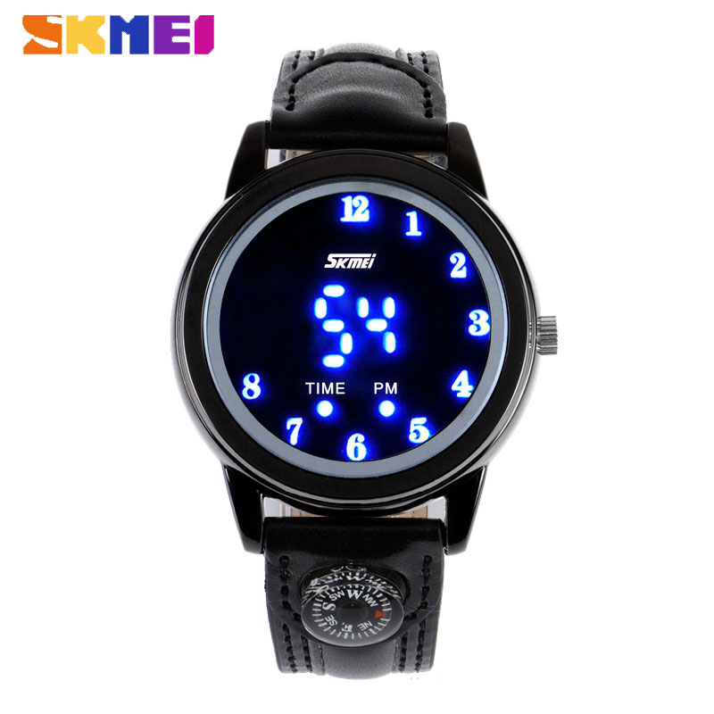 Skmei Water Resistant Digital LED Watch with Leather Strap For Men