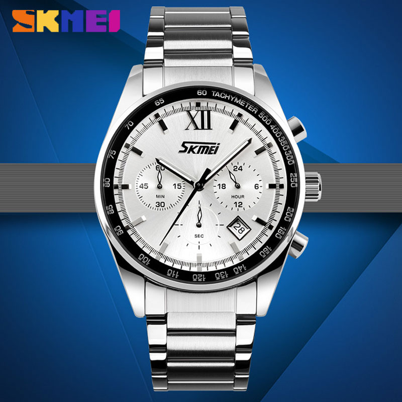 SKMEI Stainless Steel Strap Waterproof Multifunction Quartz Men Watches