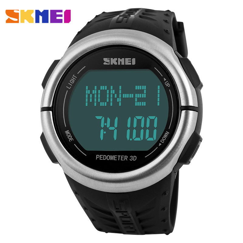 SKMEI Luxury Casual Waterproof Pedometer Heart Rate Men Wristwatches