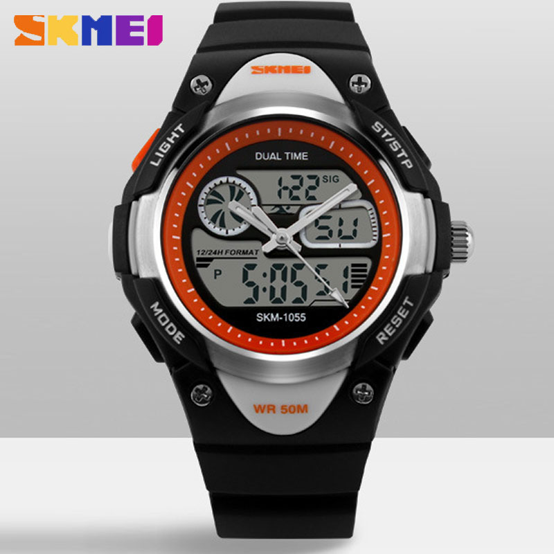 SKMEI Analog-Digital Creative Jelly Round Electronic Kids Watches