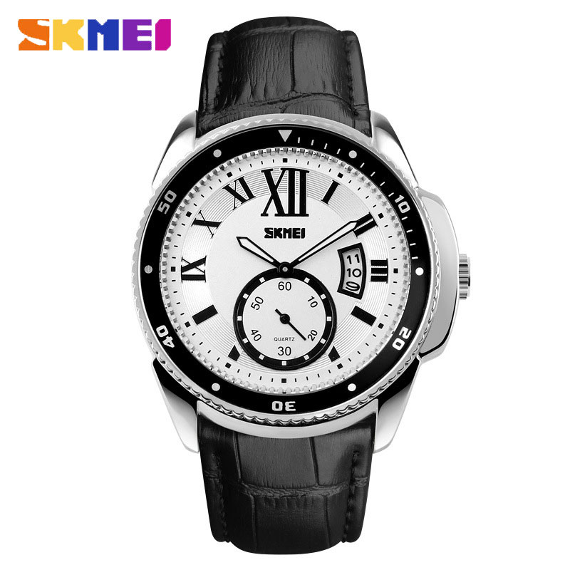 SKMEI Leather Strap Waterproof Business Style Quartz Round Men Watches
