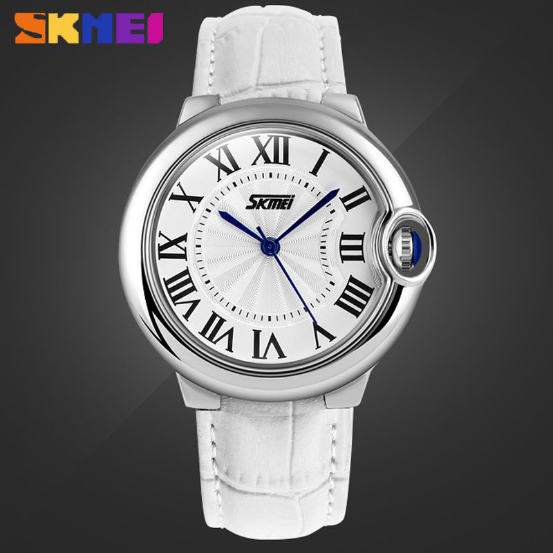 SKMEI Korean Style Genuine Leather Strap Quartz Round Women Watches