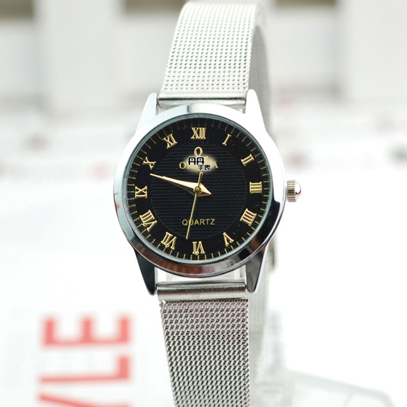Simple Roman Numeral Markers Black Dial Men Watch