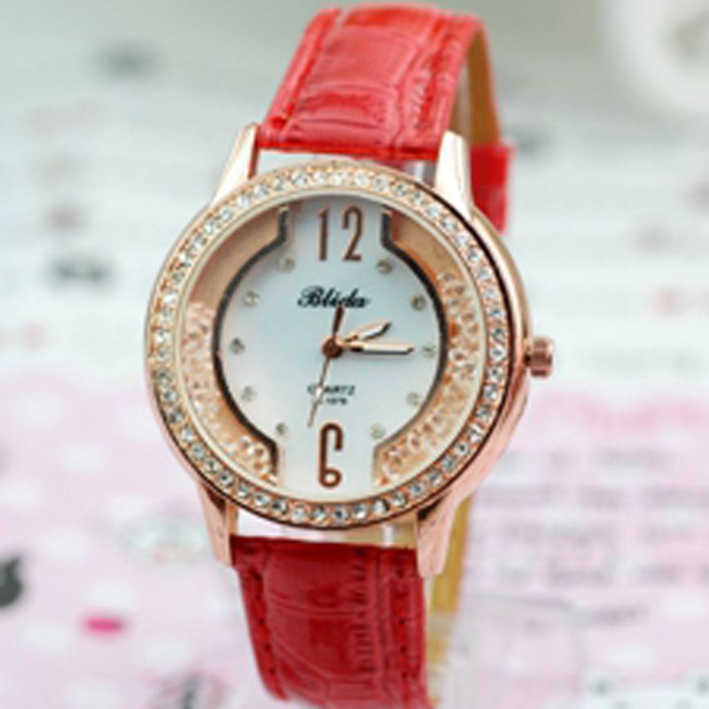Fashion Red Leather Strap Diamonds Bezel Women Watch