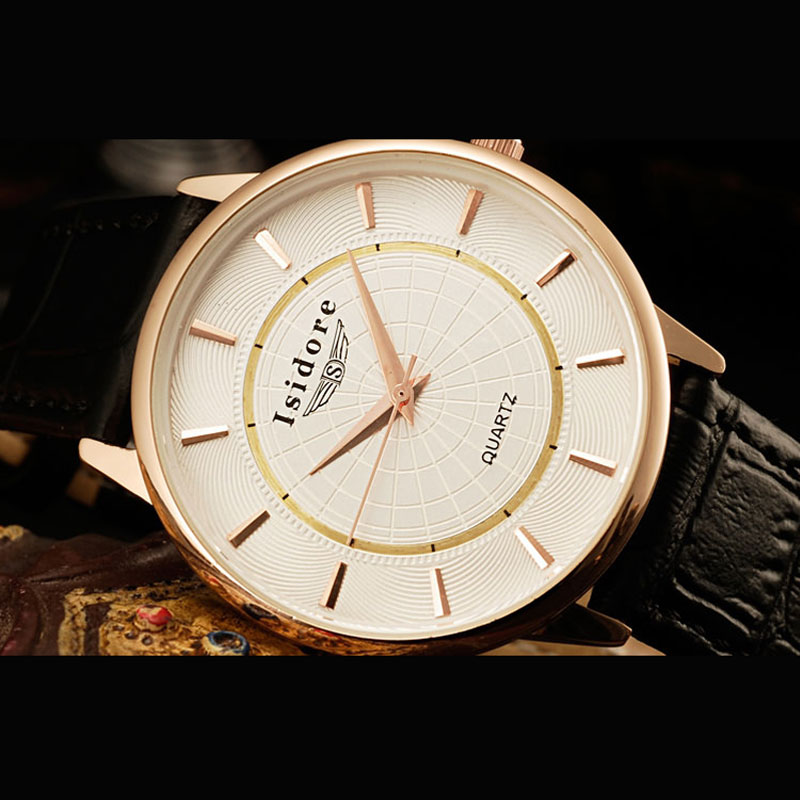 White Dial Black Leather Strap Business Round Men Watch