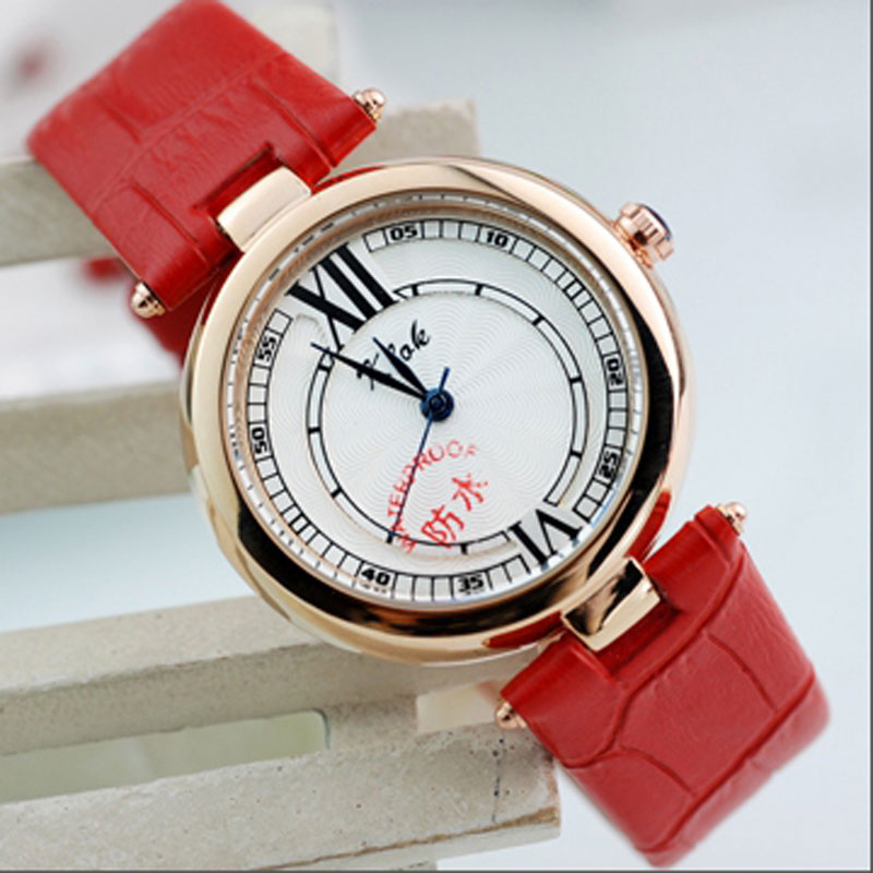 White Dial Colorful Leather Strap Round Quartz Women Watch
