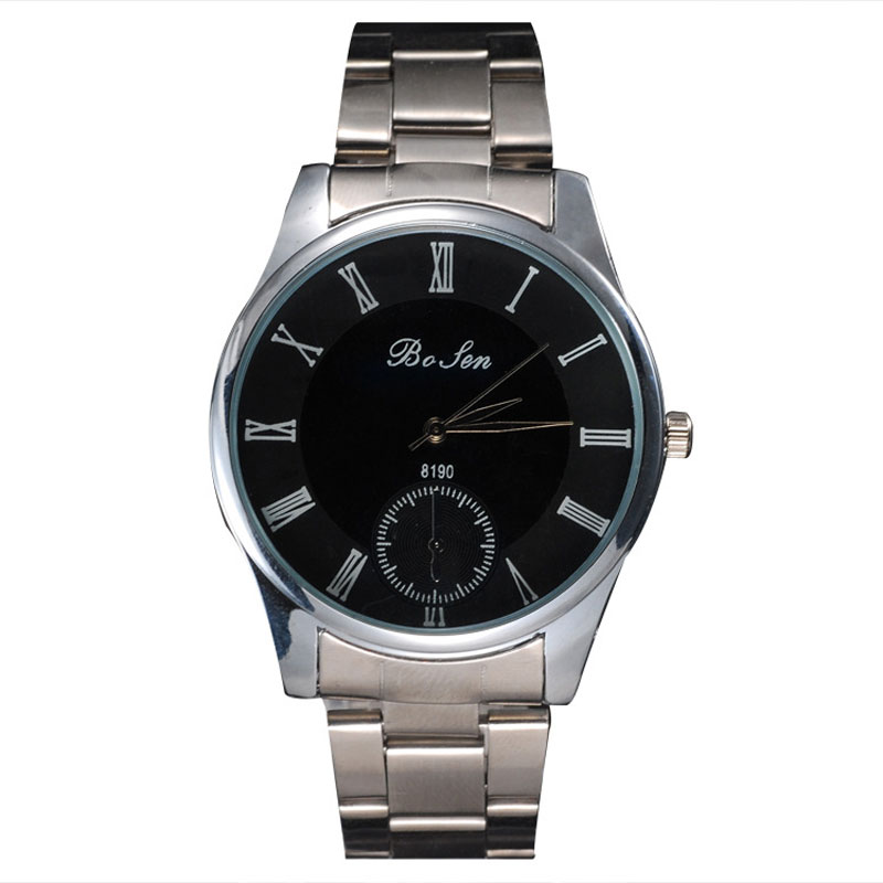 Black Dial Roman Numeral Markers Simple Fashion Men Watch