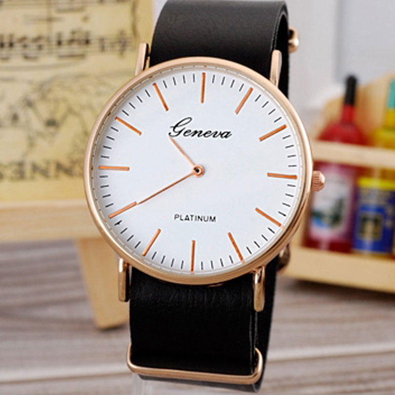 White Dial Leather Strap Simple Business Men Watches