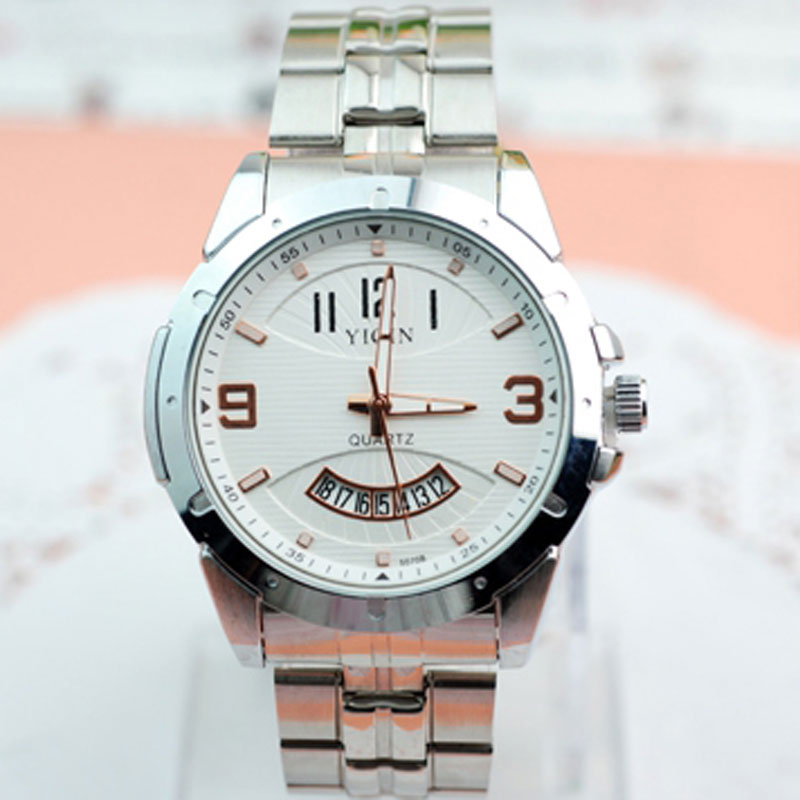 Stainless Steel Bracelet White/Black Dial Calendar Men Watches