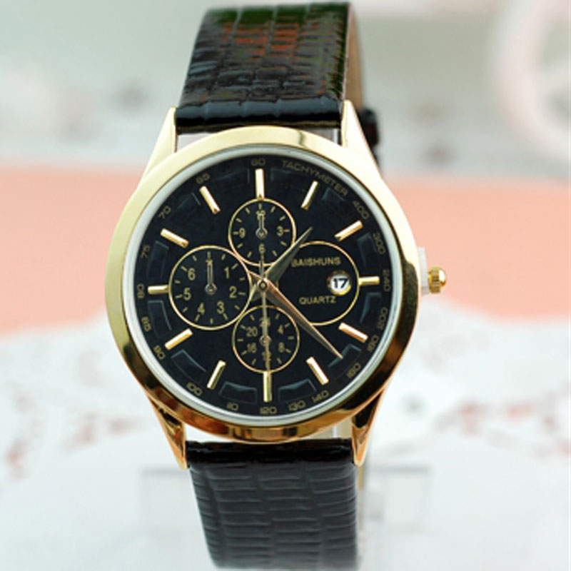 Black/Brown Leather Strap Calendar Chronograph Quartz Men Watches