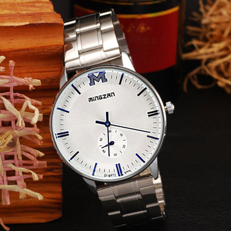White Dial Stainless Steel Bracelet Waterproof Quartz Couple Watches