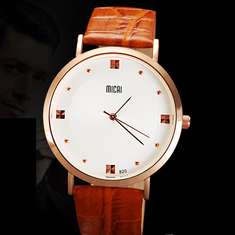 Brown Leather Strap White Dial Analog Men Watches