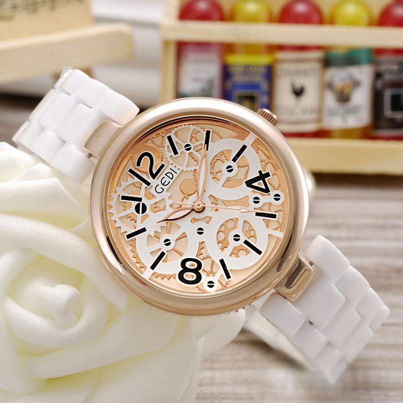 Ceramic Strap Quartz Analog Elegant Women Watches