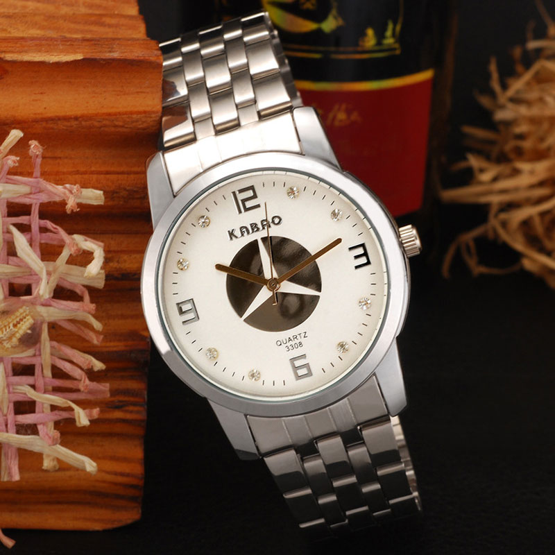 Black/White Dial Analog Quartz Diamonds Round Men Watches
