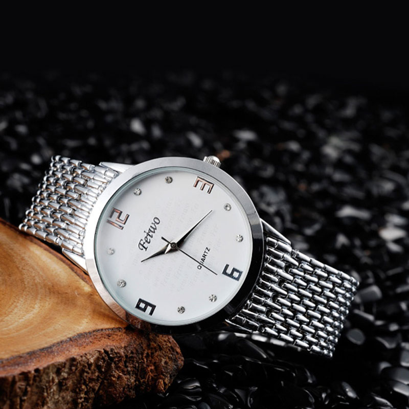 Stainless Steel Bracelet White Dial Diamonds Waterproof Couple Watches