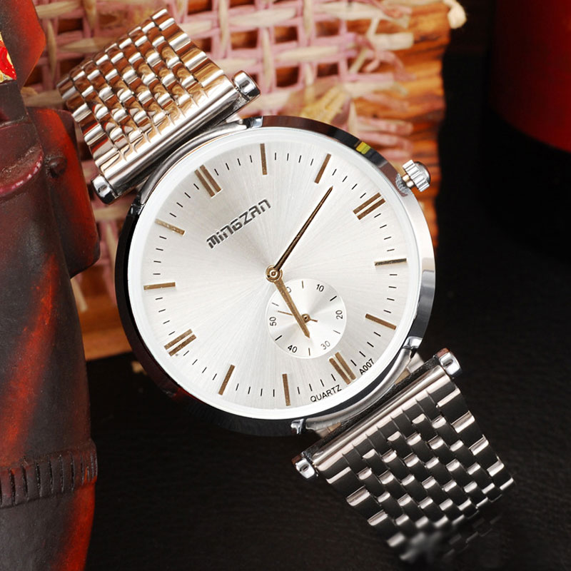 Stainless Steel Bracelet White/Black Dial Business Watches For Men