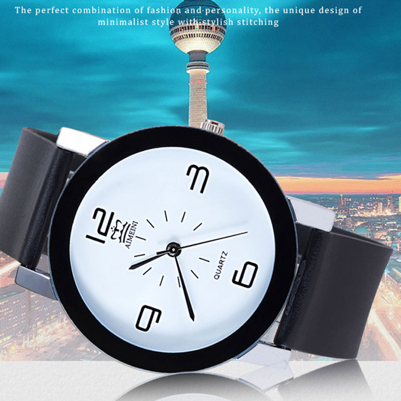 Black Rubber Strap Simple Arabic numeral Round Men Watches