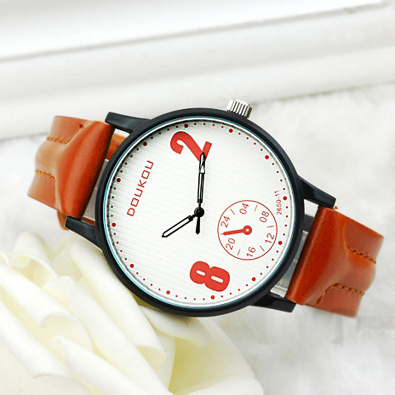 Brown Leather Strap White Dial Quartz Creative Watch For Men