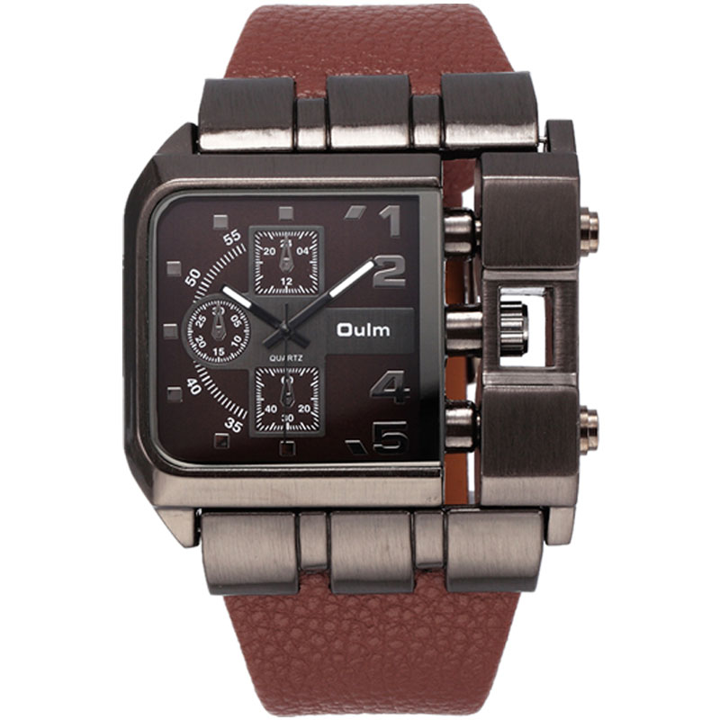 Oulm Quartz Square Dial Leather Strap Male Military Watch 3364