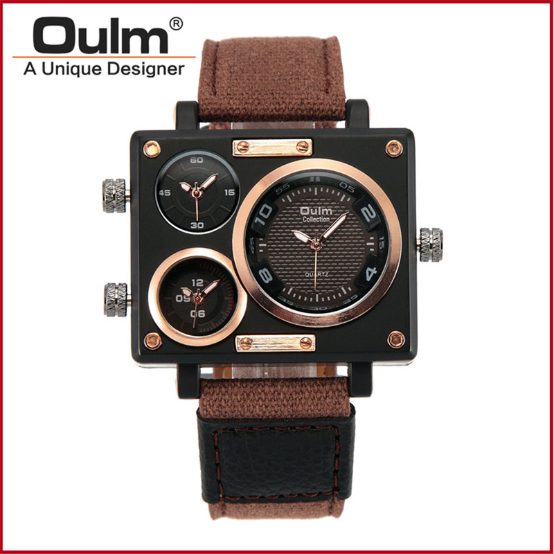 OULM Quartz Three Time Zone Canvas Strap Men's Sport Watches 3595