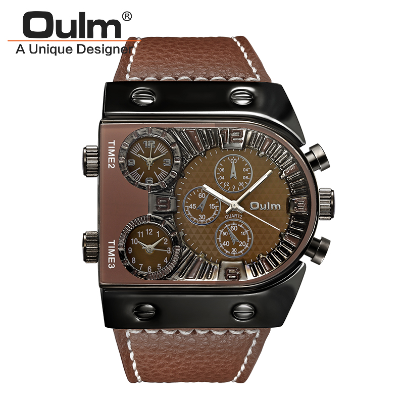 Oulm Leather Strap Quartz-Watch 3 Time Show Men Sports Watches 9315