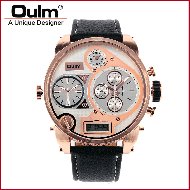 Oulm Quartz Leather Strap Large Dial Double Time Male Sports Men 9316B