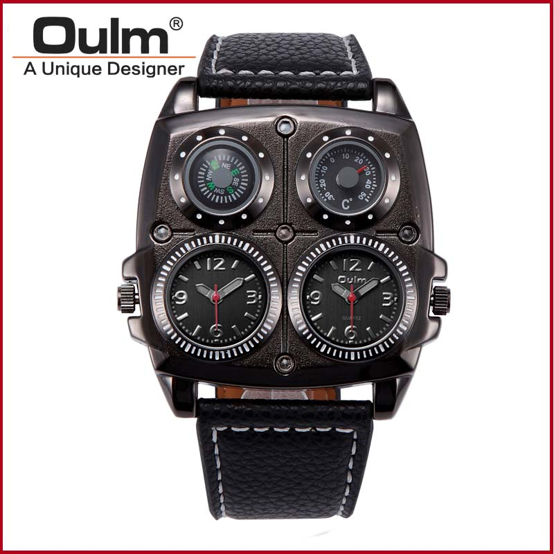 OULM Multiple Time Zone Thermometer Compass Army Military Watch 1140