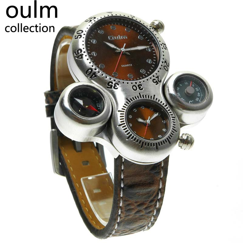 Top Brand Oulm Multi-function Military Watch with Leather Watchband 1149