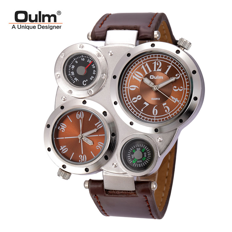 Oulm Multi-Function Watch for Men with Round Dial Dual Movt Leather strap 9415