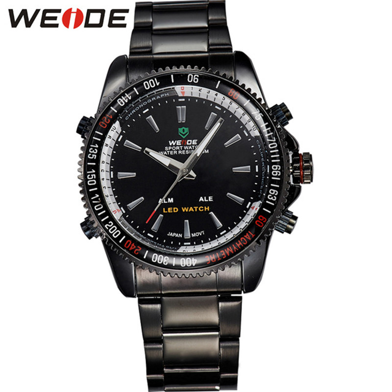 WEIDE Classic Quartz Analog-Digital Display Stainless Steel Band Waterproof Men Watch