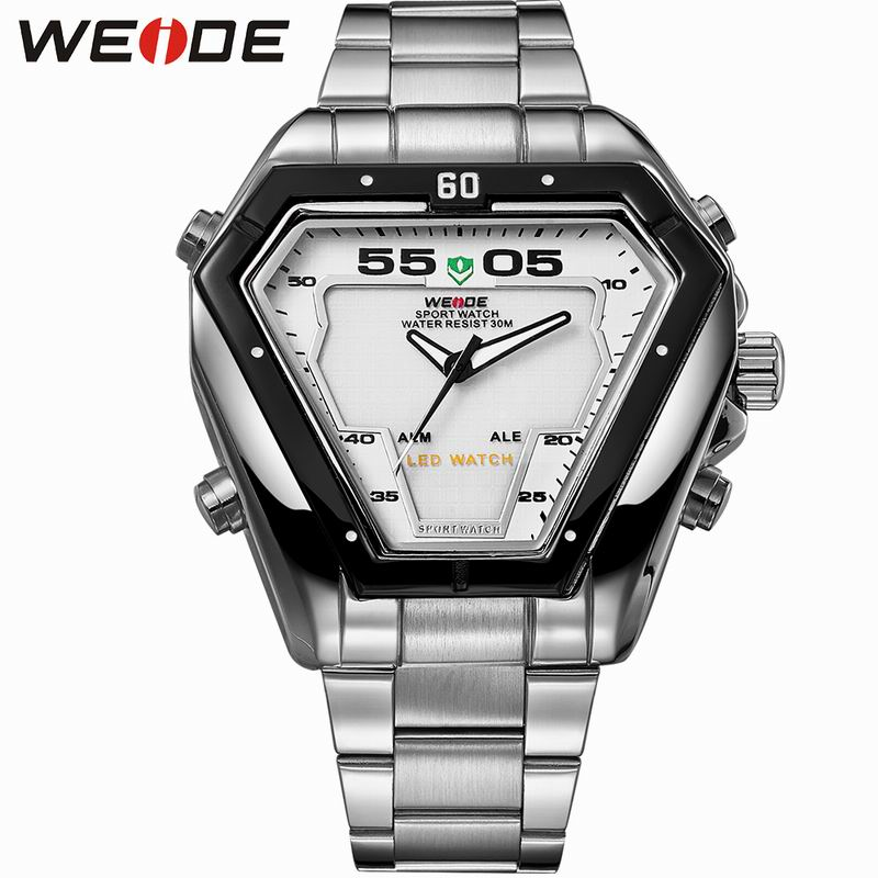 WEIDE Brand Men Quartz Sports LED Digital Casual Stainless Steel Waterproof Watches