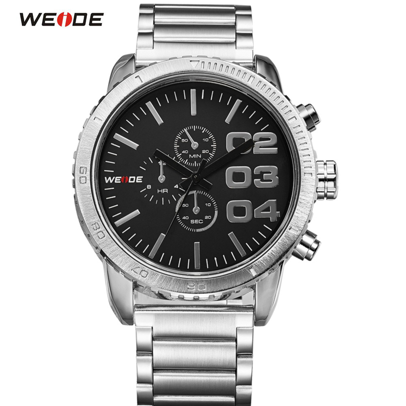 WEIDE Analog Display 3ATM Water Resistant Stainless Steel Casual Men Quartz Watches