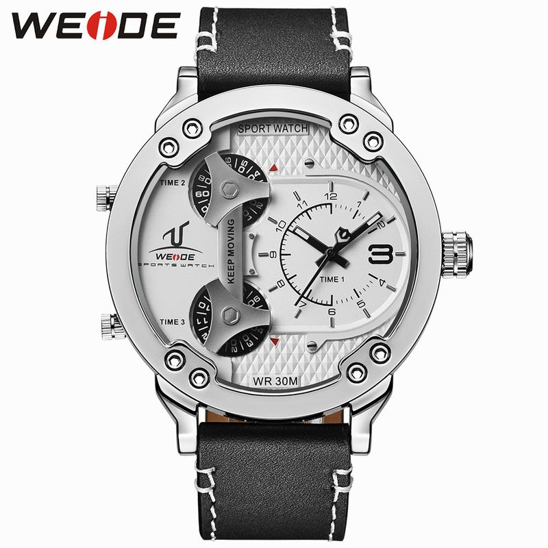 WEIDE Brand Men Sport Watches Quartz Genuine Leather Strap Multiple Time Zone Male Wristwatches