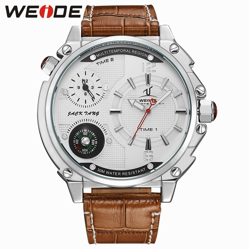 WEIDE Top Brand Luxury Fashion Leather Clock Waterproof Men Sports Watches