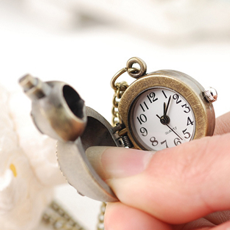 Bronze Case White Dial Quartz Vintage Pocket Watch