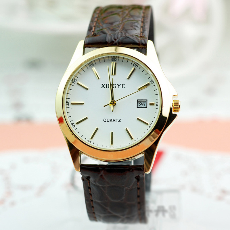 Fashion Men Watch With White Dial Stick Markers Date Quartz Watch 66512