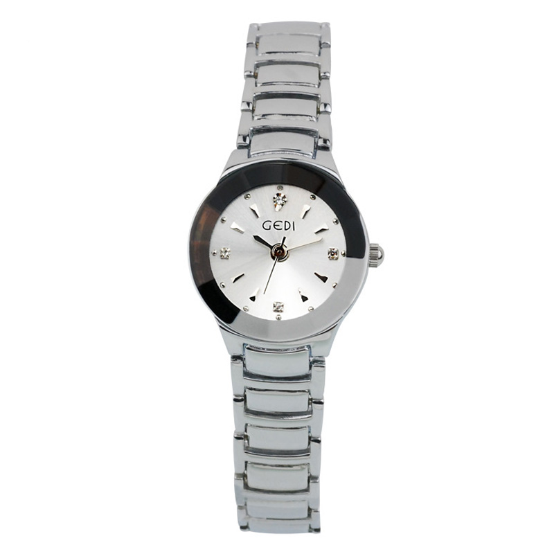 Fashion Women Watch With Rhinestone Markers Black/White Dial 70081