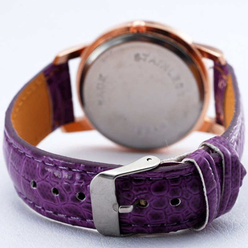 British Style Casual Grey Dial Leather Strap Women Watch 64857