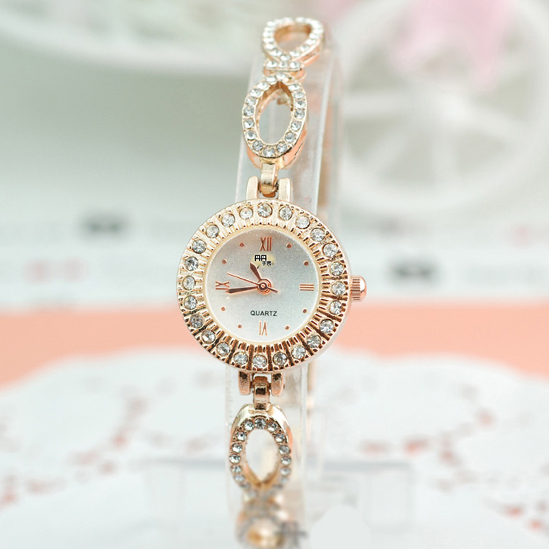 Elegant Women Braclet Watch With Diamond Braclet White Dial Watch