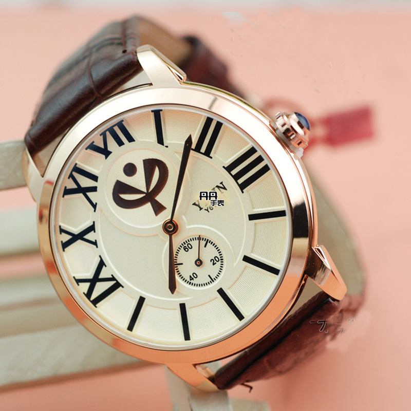 Fashion Men Watch With Leather Strap Quartz Simple Watch 66552