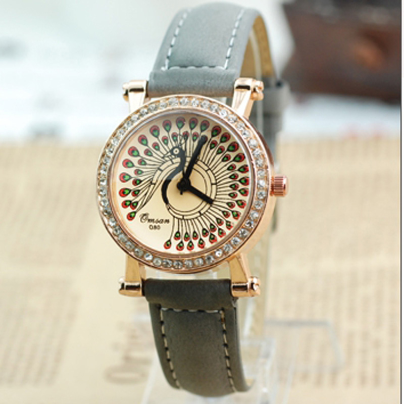 Cute Style Peacock Open Yellow Dial Quartz Watch 66235