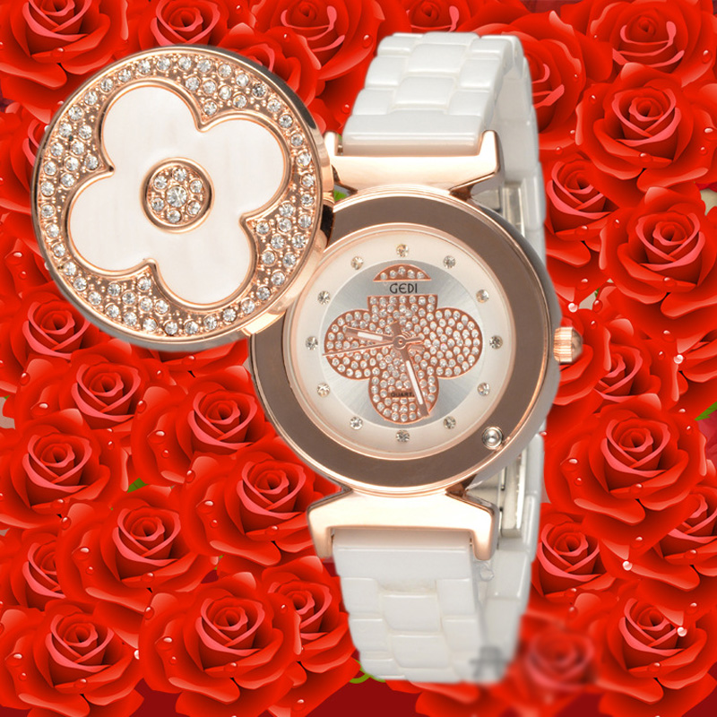 Elegant Ceramic Clover Gold Case Women Watches 67246